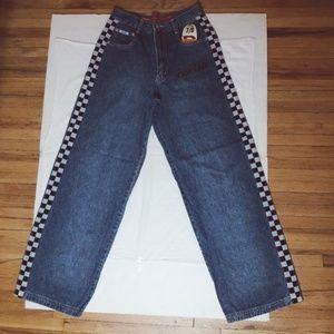 Checkered Denim Jeans Wide Leg NWT REVOLT Pants